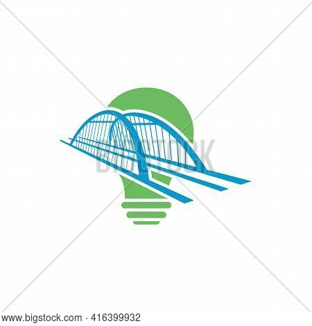 Bridge With Bulb Logo Design Vector Illustration, Creative Bridge Logo Design Concept Template, Symb