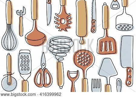 Kitchen Knolling. Kitchenware Sketch Set. Doodle Line Vector Utensils, Tools And Cutlery. Whisk, Slo