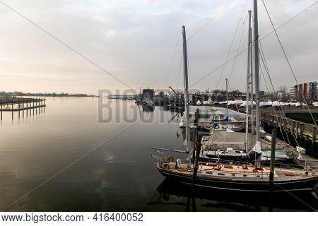 NORWALK, CT,USA  - APRIL 10, 2021:  Morning view from bridge at  Washington Street with Norwalk river