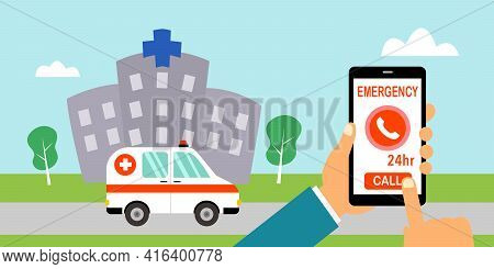 Man Calling Emergency Call For Ambulance From Hospital. Patient Urgent Need Help Or First Aid Assist