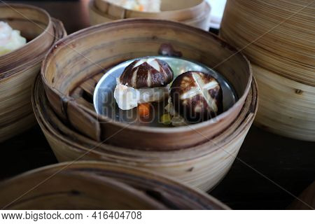 Steamed Shrimp Balls With Mushroom Topping, Chinese Steamed Dumpling Or Dim Sum
