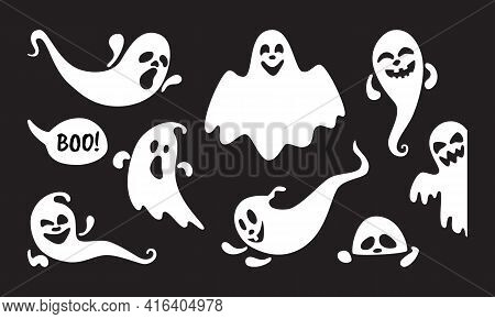 Cute Ghost Holiday Characters Flat Style Design Vector Illustration Set Isolated On Black Background