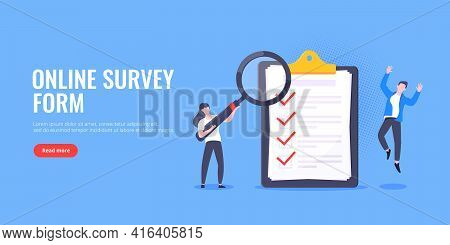 Checklist Complete Business Concept Tiny People With Magnifying Glass Working Nearby Giant Clipboard