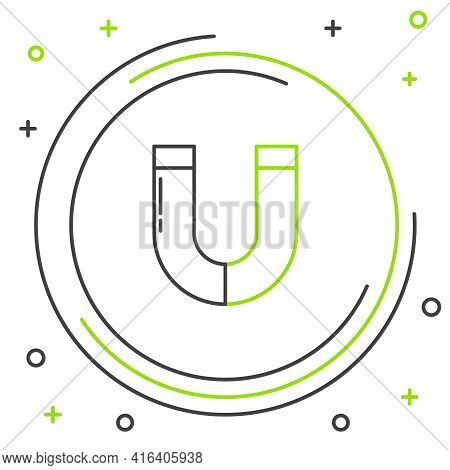 Line Magnet Icon Isolated On White Background. Horseshoe Magnet, Magnetism, Magnetize, Attraction. C