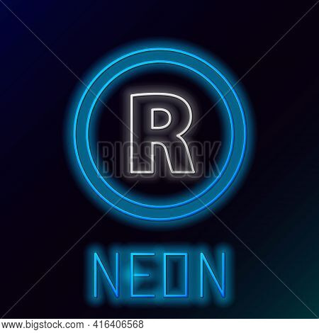 Glowing Neon Line Registered Trademark Icon Isolated On Black Background. Colorful Outline Concept.