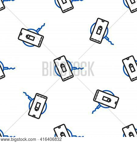 Line Smartphone Charging On Wireless Charger Icon Isolated Seamless Pattern On White Background. Cha
