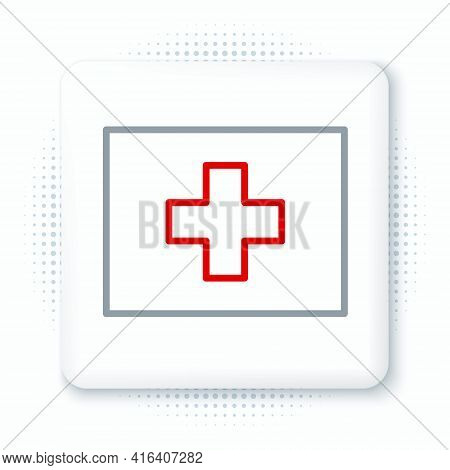 Line First Aid Kit Icon Isolated On White Background. Medical Box With Cross. Medical Equipment For