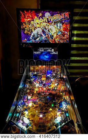 An Iron Maiden Pinball Machine At A Diner In New York. 4/11/21