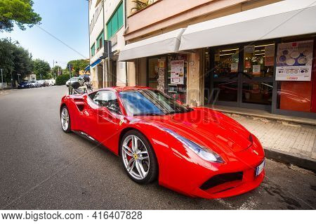 October 10, 2018 Castiglioncello, Tuscany, Italy. Italian Sports Car Ferrari 488 Gtb On A City Stree