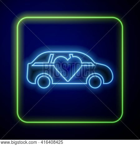 Glowing Neon Luxury Limousine Car Icon Isolated On Blue Background. For World Premiere Celebrities A