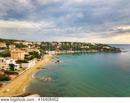 Top View Of The City And The Promenade Located In Castiglioncello In Tuscany. Italy, Livorno
