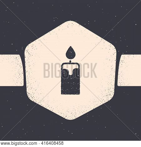 Grunge Burning Candle Icon Isolated On Grey Background. Cylindrical Candle Stick With Burning Flame.