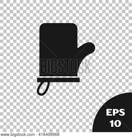 Black Sauna Mittens Icon Isolated On Transparent Background. Mitten For Spa. Vector