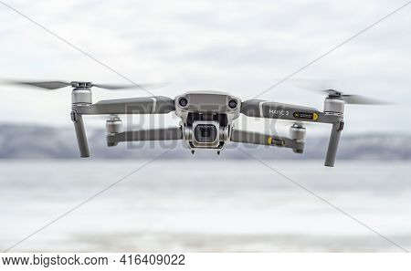 Tolyatti, Russia - April 4, 2021: The Dji Mavic 2 Pro Drone Flies Against The Background Of The Moun
