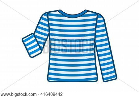Striped Sailor T-shirt Isolated On White Background. Sea Striped Shirt With Long Sleeves In Light Wh