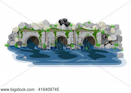 Water Pollution From Industrial Pipes. Three Pipes Drain The Waste Water Into River, Ecological Disa