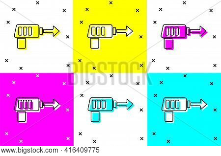 Set Fishing Harpoon Icon Isolated On Color Background. Fishery Manufacturers For Catching Fish Under