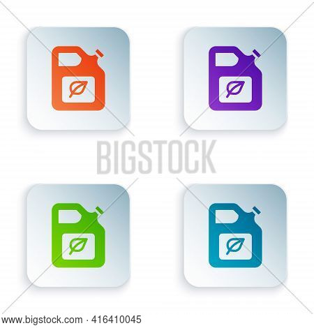 Color Bio Fuel Canister Icon Isolated On White Background. Eco Bio And Barrel. Green Environment And