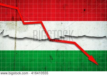 Fall Of The Hungary Economy. Recession Graph With A Red Arrow On The Hungary Flag. Economic Decline.