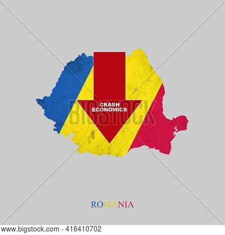 Crash Economics, Romania. Red Down Arrow On The Map Of Romania. Economic Decline. Downward Trends In