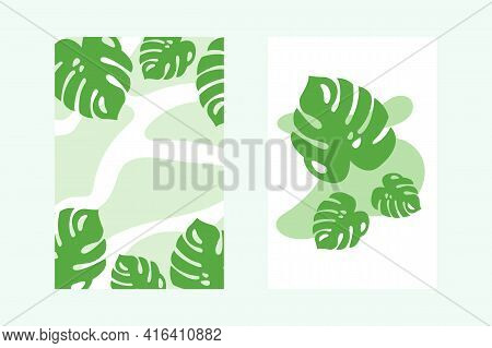 Set Of Natural Plant Banners, With Green Monstera Leaves, Minimalist Botanical Posters. Background F