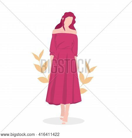 A Young, Beautiful Girl With Red Hair In A Beautiful, Light, Summer Dress. Modern Vector Illustratio