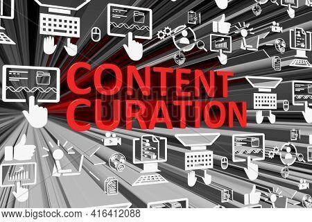 Content Curation Concept Blurred Background 3d Render Illustration