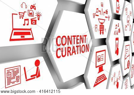 Content Curation Concept Cell Background 3d Illustration