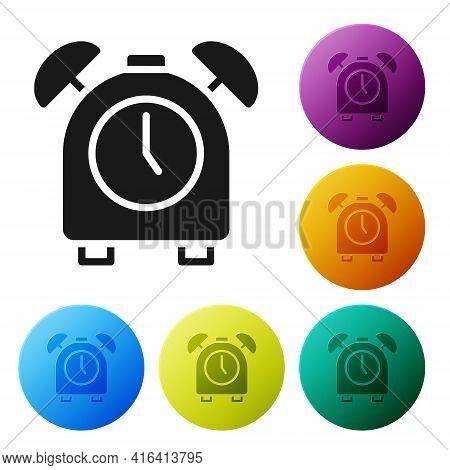Black Alarm Clock Icon Isolated On White Background. Wake Up, Get Up Concept. Time Sign. Set Icons I