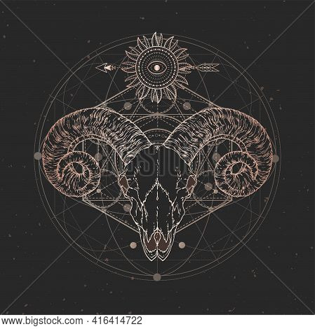 Vector Illustration With Hand Drawn Ram Skull And Sacred Geometric Symbol On Black Vintage Backgroun