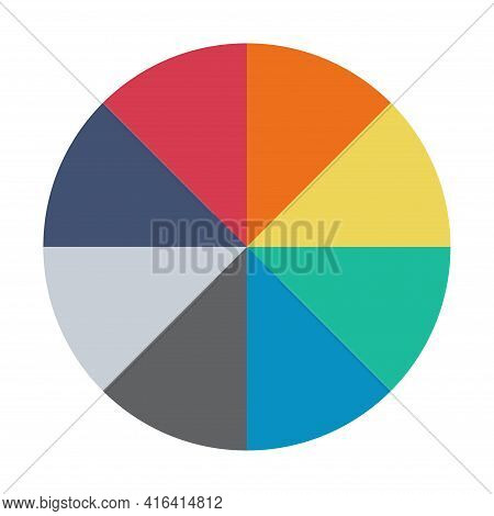 Infographic Pie Chart. Cycle Presentation Diagram 8 Section. Vector Isolated On White Background