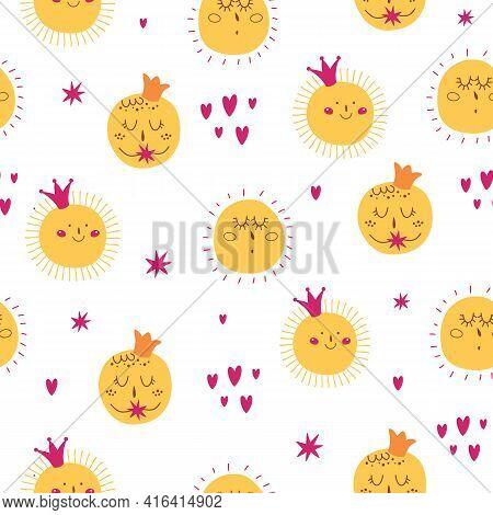 Kids Sun Pattern. Cute Smiling Sun Character. Pink Crown, Hearts. Girly Sunny Seamless Pattern.