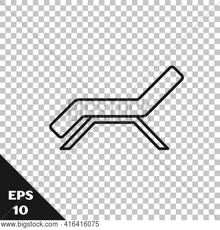 Black Line Sunbed Icon Isolated On Transparent Background. Sun Lounger. Vector