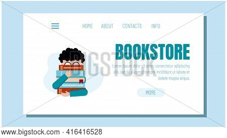 International Children's Book Day. The Boy Is Holding A Stack Of Books. Template For The Bookstore W
