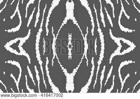 Seamless Zebra Pattern. Fashion African Texture. Watercolour Tiger Fur. White Camouflage Wallpaper.