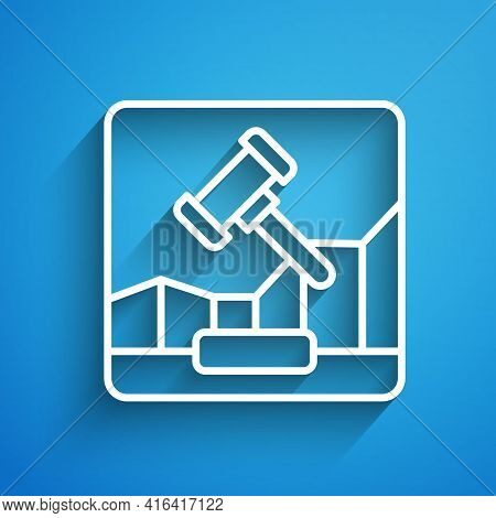 White Line Online Internet Auction Icon Isolated On Blue Background. International Trade Concept. In