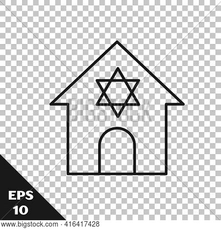 Black Line Jewish Synagogue Building Or Jewish Temple Icon Isolated On Transparent Background. Hebre