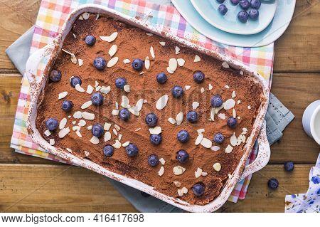 Tiramisu. Traditional Italian Dessert On White Plate. Delicious Dessert For Breakfast, The Bright Co