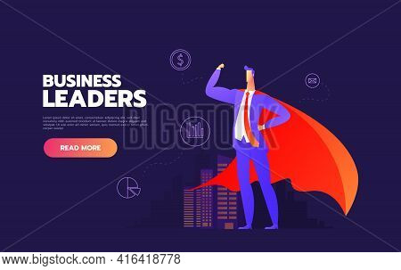 Business Leader Business People Looking Up At Their Leader. The Leader And Column And Background Are