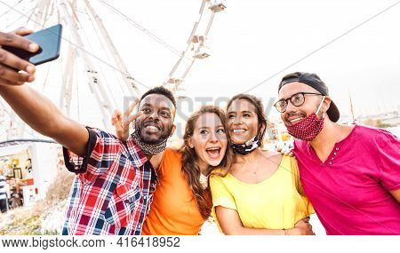 Multicultural Happy Travelers Taking Selfie Wearing Open Face Masks - New Normal Travel Life Style C