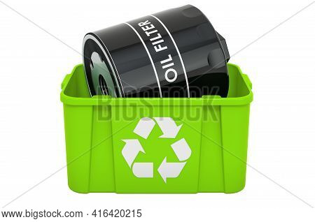 Recycling Trashcan With Car Oil Filter, 3d Rendering Isolated On White Background