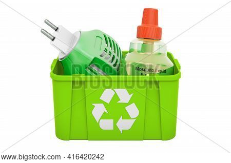 Recycling Trashcan With Fumigator. 3d Rendering Isolated On White Background