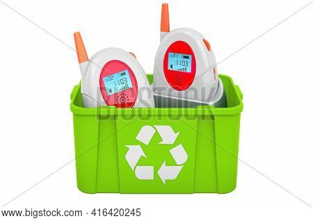 Recycling Trashcan With Audio Baby Monitor, Baby Alarm. 3d Rendering Isolated On White Background