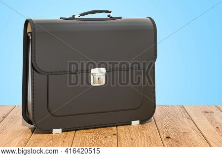 Black Leather Briefcase On The Wooden Planks, 3d Rendering
