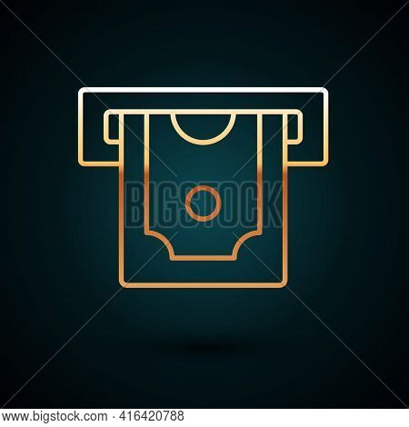 Gold Line Atm - Automated Teller Machine And Money Icon Isolated On Dark Blue Background. Vector