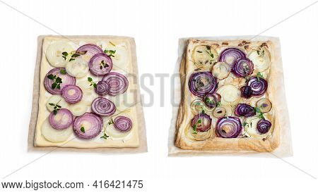 Set Of  Raw And Baked French Onion Tart Isolated On White