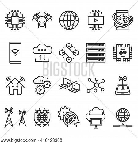 Set Of Activities Global Technology Linear Icon. Outline Digital Business Internet Telecom Symbol. M