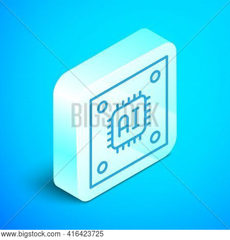 Isometric Line Computer Processor With Microcircuits Cpu Icon Isolated On Blue Background. Chip Or C