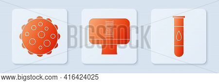 Set Dna Spiral And Computer, Virus And Blood Test And Virus. White Square Button. Vector