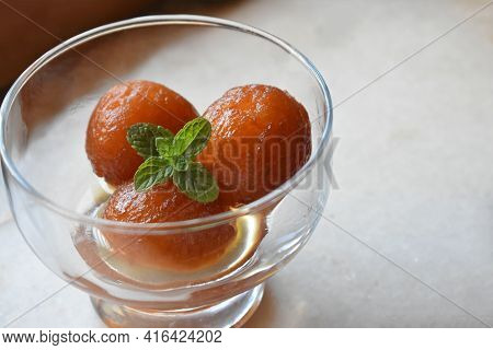 Indian Sweet Food Called Gulab Jamun Made Up Of Milk And Sugar, A Popular Dish In Festival Or Specia
